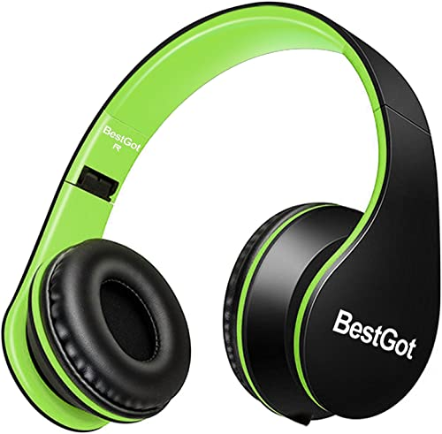 BestGot Kids Headphones with Microphone for Kids Adult in-line Volume Included Transport Bag Foldable Headset with 3.5mm Plug Removable Cord Black Green