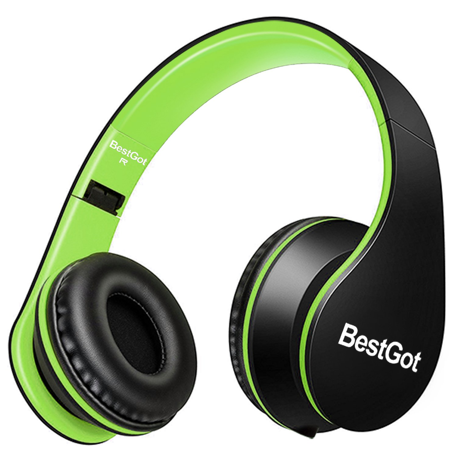 BestGot Kids Headphones Boys Adult Over Ear with Microphone for Kids in-line Volume with Transport Waterproof Bag Foldable Headphone with 3.5mm Plug Removable Cord (Black/Green)