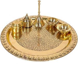 WorldOfIndianArt Presents Handmade Brass Puja Thali with Flower Embossed Design Brass Pooja Plate Religious Spiritual Item Home Temple 10.1