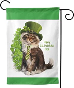 Happy St.Patricks Day Garden Flags 12.5x18 inches Clover with Cute Cat House Flags Home Outside Decoration Banners Courtyard