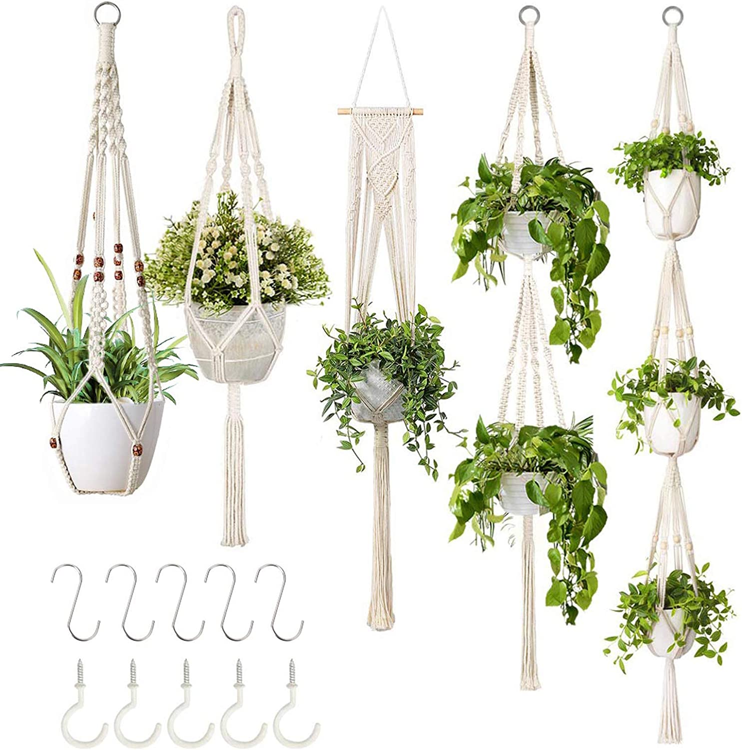 GROWNEER 5 Packs Macrame Plant Hangers with 5 Hooks, Different Tiers, Handmade Cotton Rope Hanging Planters Set Flower Pots Holder Stand, for Indoor Outdoor Boho Home Decor: Kitchen & Dining