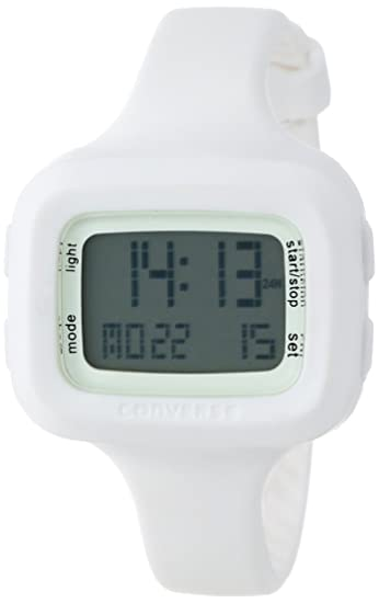 Converse Understatement - Reloj digital de mujer de cuarzo con correa de silicona blanca (alarma, cronómetro) - sumergible a 30 metros: Amazon.es: Relojes