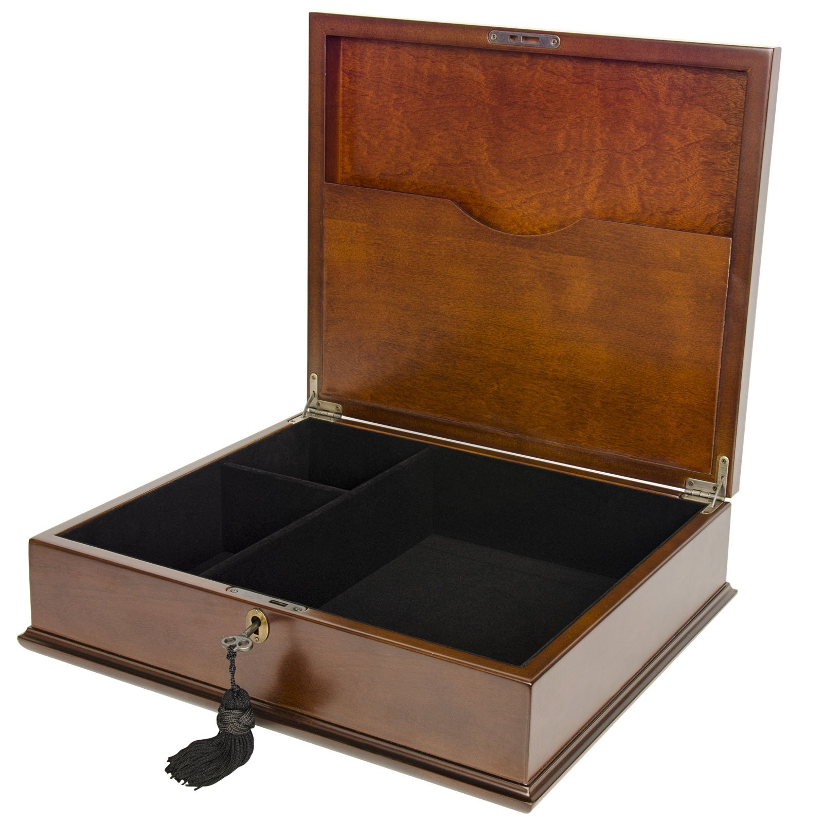 Large Romeo Memory Box Organizer Mahogany Wood Finish for Photo Album CD DVD USB & other Valuables Size 14 x 12 x 5 Inches by Arolly (Image #3)