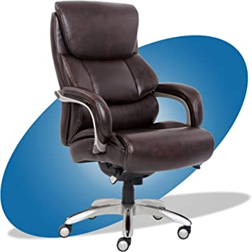 Amazon Com La Z Boy Executive Comfort Core Cushions Office Chair With Black Wood Accents Bonded Leather Dark Brown Furniture Decor