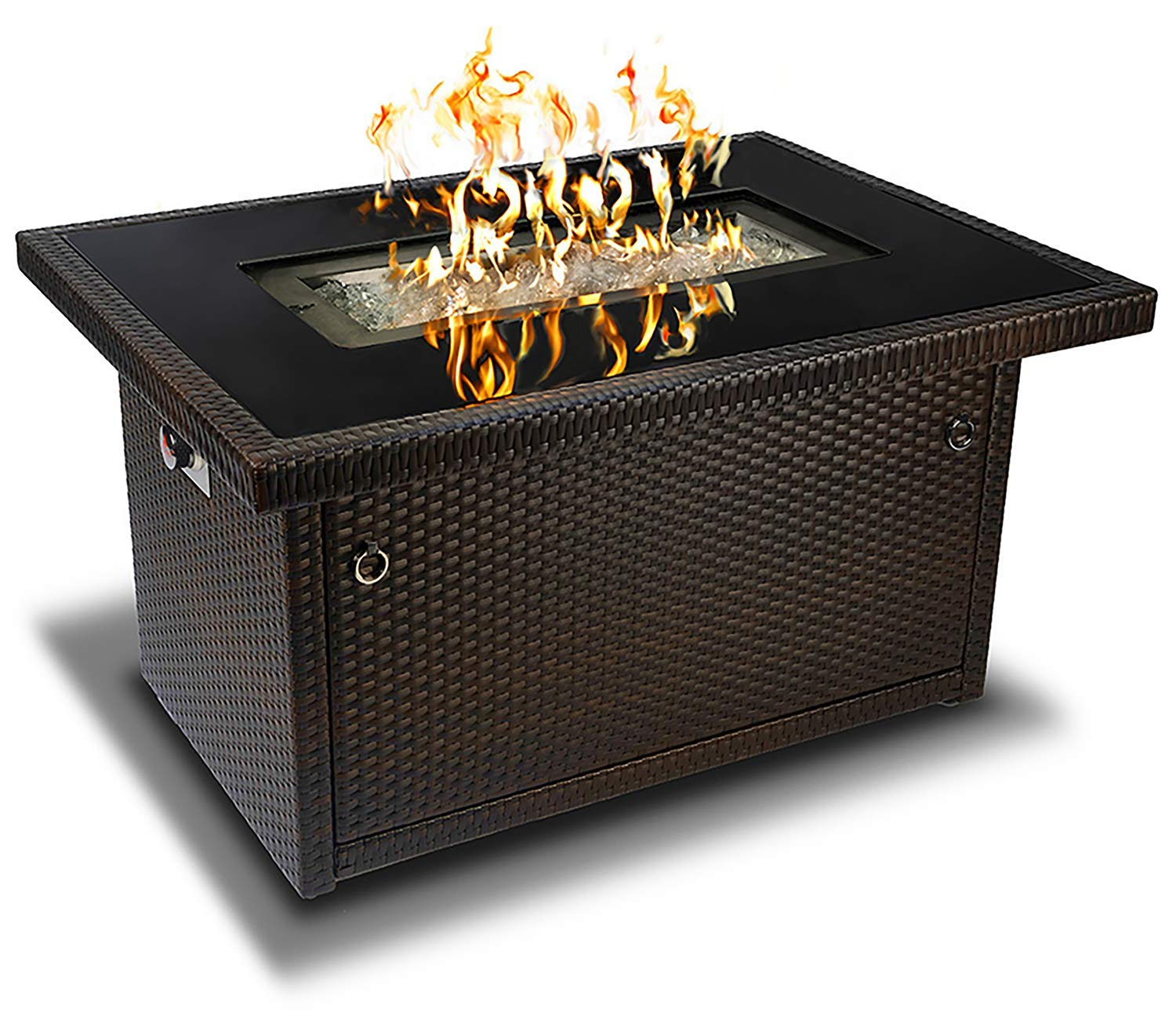 Outland Fire Table, Aluminum Frame Propane Fire Pit Table with Black Tempered Glass Tabletop Resin Wicker Panels & Arctic Ice Glass Rocks, Auto-ignition (Espresso Brown/Rectangle) product image