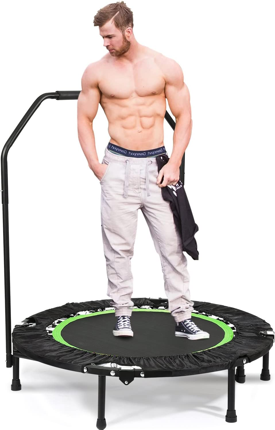 ANCHEER Foldable 40 Mini Trampoline Rebounder, Max Load 300lbs Rebounder Trampoline Exercise Fitness Trampoline for Indoor Garden Workout Cardio Green