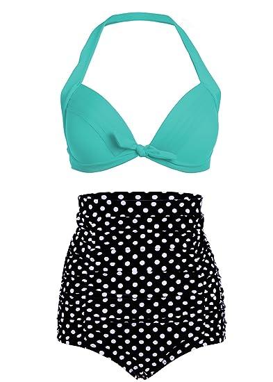 Polka Dot Lunares Retro Pinup Vintage Mujer Bikini con Parte Superior Alta Cintura y Turquesa (Juego de 2 Piezas)