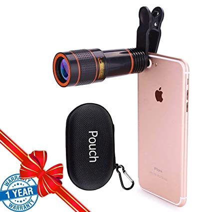 Cell Phone Camera Lens 12x Zoom Telephoto Universal Clip On Hd Lens Kit For Iphone X 8 7 6s 6 Plus 5 Se Samsung Android And Smart Phone