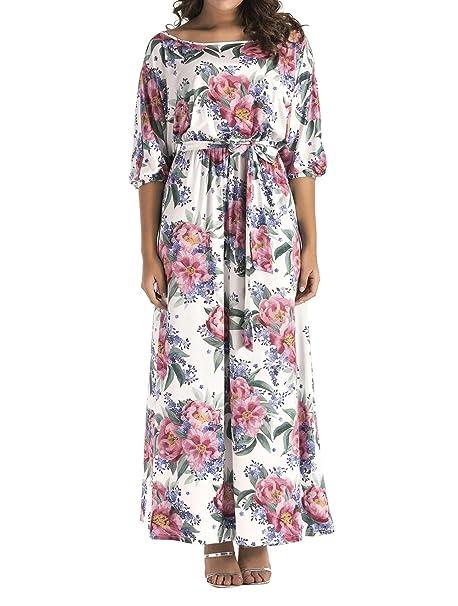 90c67b6bdc Simple-Fashion Primavera y Otoño Mujeres Talla Grande Vestido con Vendaje  Elegante Moda Manga 3 4 Vestidos de Partido Cóctel Fiesta Casual Impresión  Maxi ...