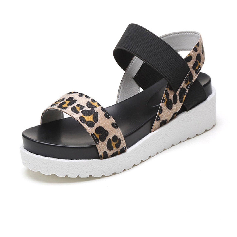 Aworth Summer Women Shoes Hot Selling Sandals Women Summer Peep-Toe Flat Shoes Roman Sandals Women Shoes Sandalias Mujer Sandalias B07C73WPXR 6 B(M) US|Leopard 2cdb0d