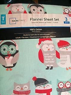 mainstays flannel sheet set twin twin winter owl - Santa Sheets