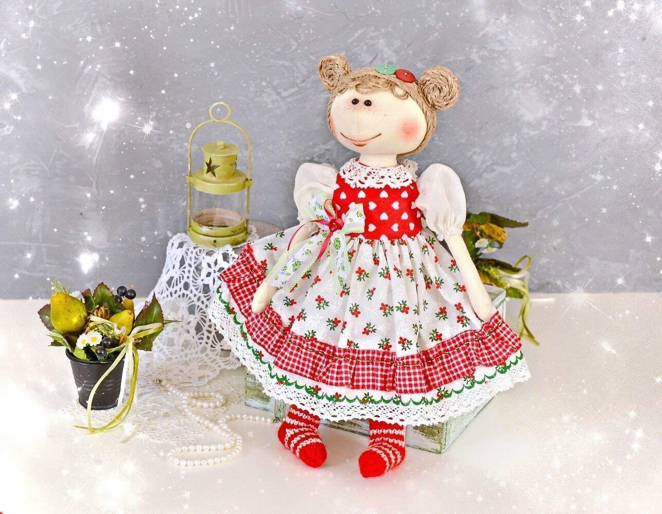 Red Cloth Dolls Interior Toy Handmade Rag Doll 15 Inch