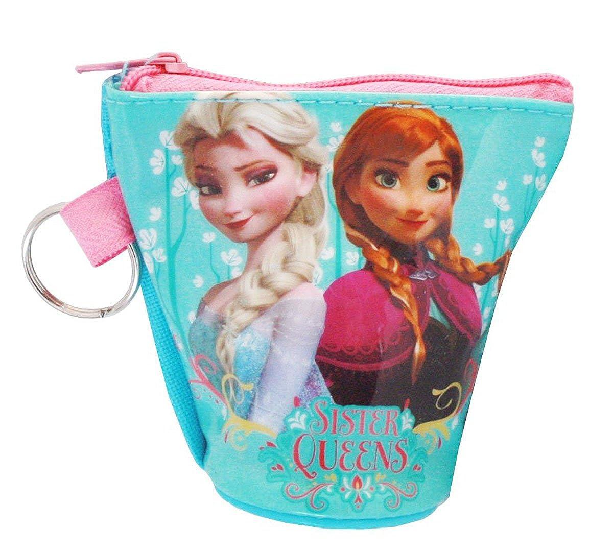 Porte-monnaie et clé enfant fille La reine des neiges Elsa Bleu 8x8cm