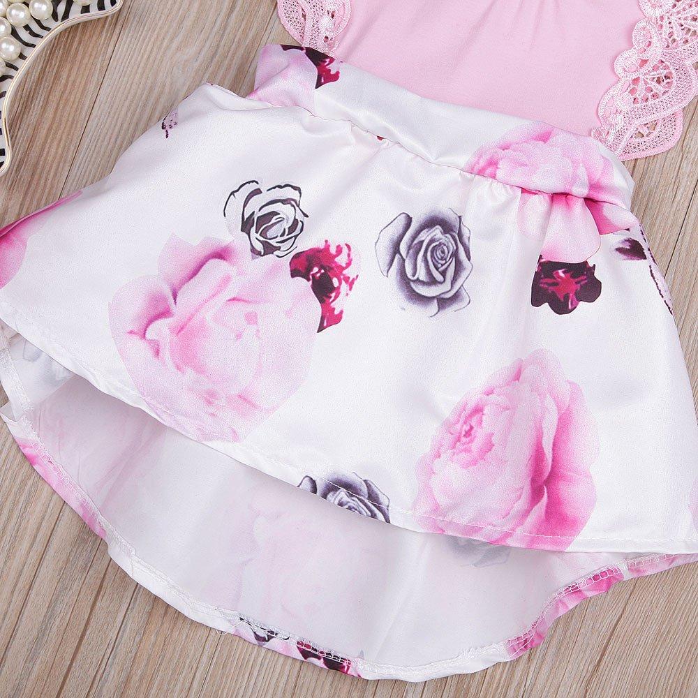 Newborn Toddler Infant Baby Girls Floral Print Lace Sleeveless Princess Dress Sundress Outfit