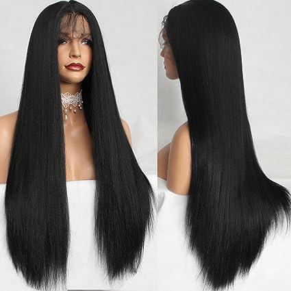 platinumhair® Negro Kinky recto encaje frontal Yaki Pelucas Peluca Lace Front sintético sin pegamento para