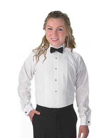 4a3bc0b64cc84a Elaine Karen Premium Women's Tuxedo Long Sleeve Shirt Laydown Collar, with  Bonus Black Bow Tie