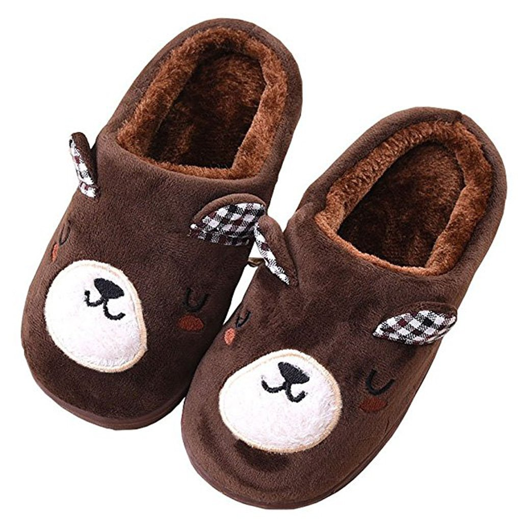 D.S.MOR Little Kid Coffee Bear Plush Cute Cute Slippers Bedroom Slippers (13.5 M)