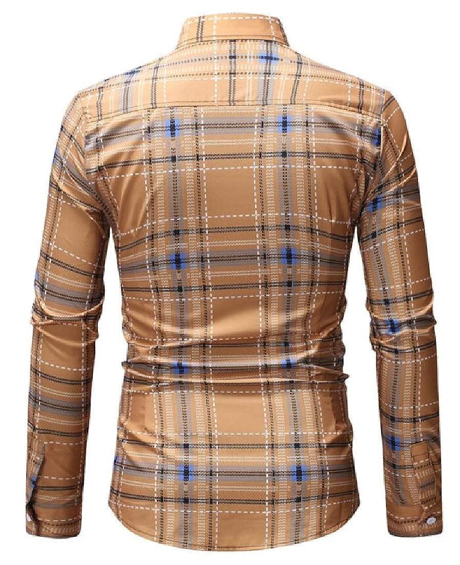 X-Future Mens Stylish Business Button Up Plaid Formal Dress Shirts