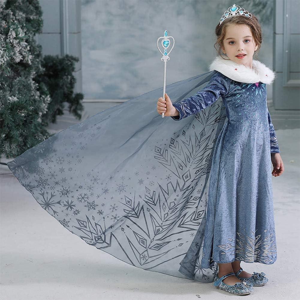 Elsa Frozen Principessa Vestito Carnevale Bambina Ragazze Abito Costume Bimbi Deluxe Anna Partito Natale Cosplay Holloween Cerimonia Pageant Festa Compleanno Comunione Cocktail Lungo Fantasia Vestite