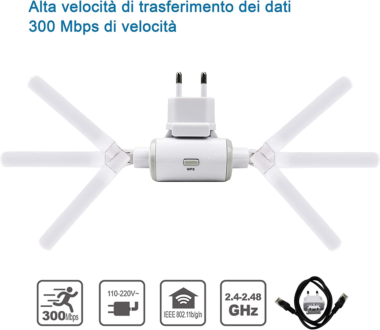 WiFi Extender N300 Range Extender WiFi Access Point AP Compatibile con Tutti i Modem Router WiFi. 300Mbps 2.4GHz EXTRASTAR Ripetitore WiFi Wireless