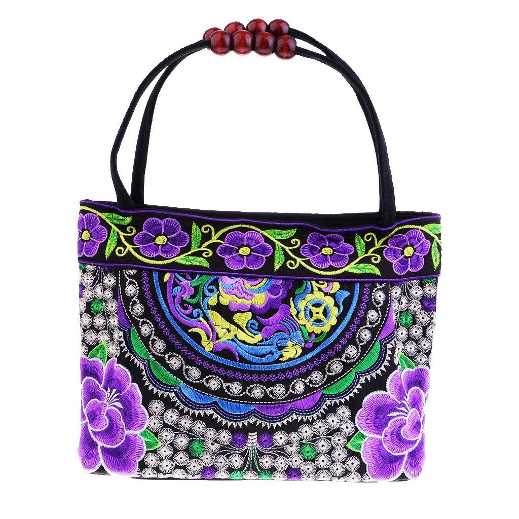 IPOTCH Cartera de Mano Bordada Retro, Étnica Diseño de Flores Cesta para Compras Bolsa Apto para Viajar Doble Cara Hecho a Mano: Amazon.es: Hogar