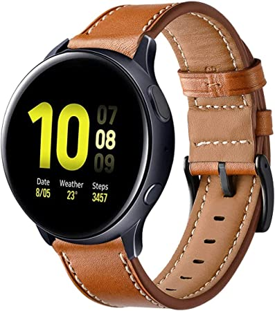 Imagen deSPGUARD Compatible Correa Samsung Galaxy Watch Active 40mm,Pulsera Galaxy Watch Active Pulsera de Cuero Suave con Correa de Repuesto para Samsung Galaxy Watch Active-Marrón