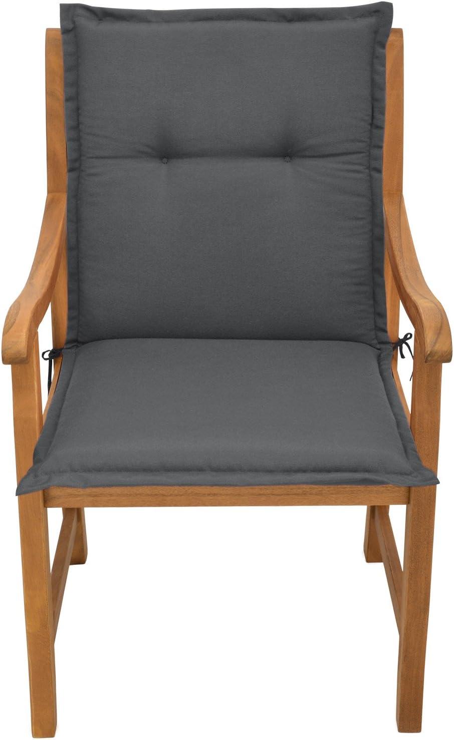 Placas compactas de gomaespuma Natural Coj/ín para sillas de balc/ón o Asiento Exterior con Respaldo Bajo Beautissu Loft NL 100x50x6 cm