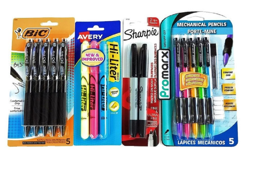 Over 55 Count School Supply Bundle by All Day Gifts, for Middle, High School and College - Binder, Mechanical Pencils, Sharpie, Pens, Hi-liters, Folders, Note Books Plus More (College Ruled) by All Day Gifts (Image #3)