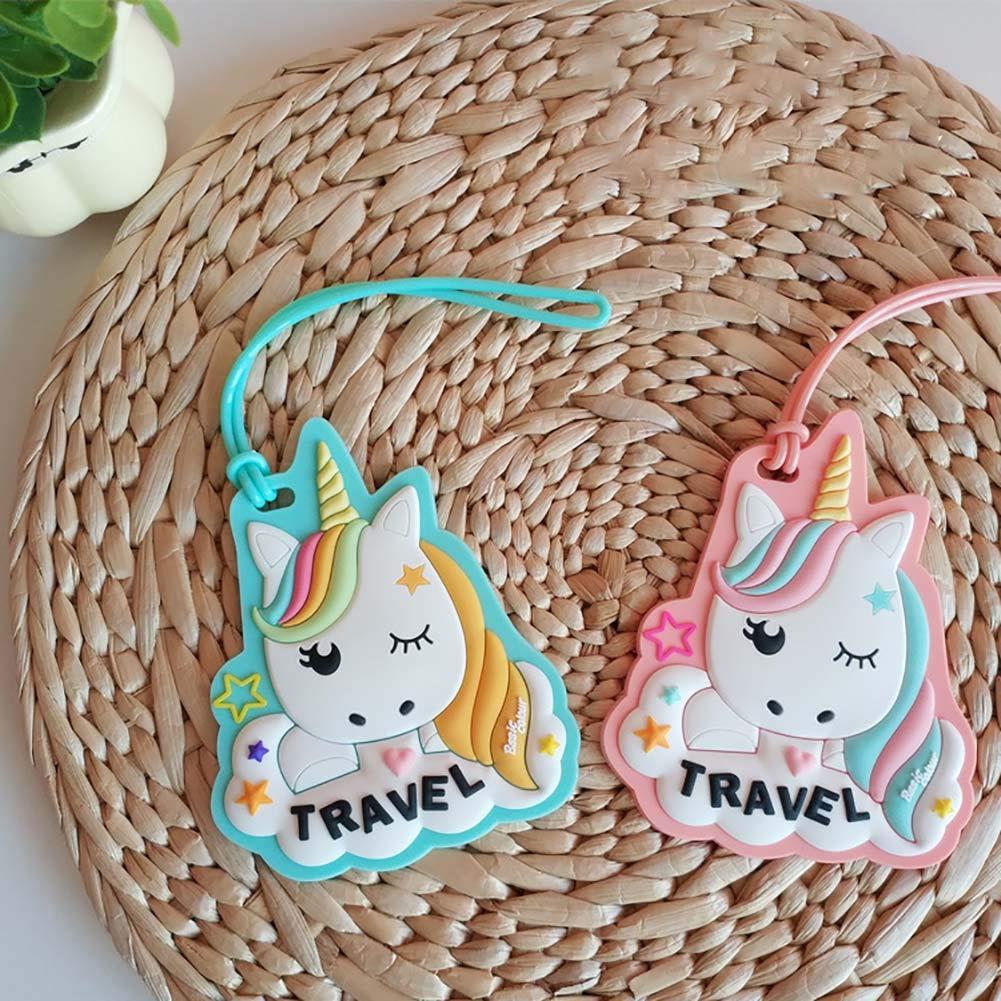 Rose Rocita Unicorn ID Etiquettes de Bagages Sac Voyage Tag /étiquettes Valise Bagages pour Les Enfants Nuages