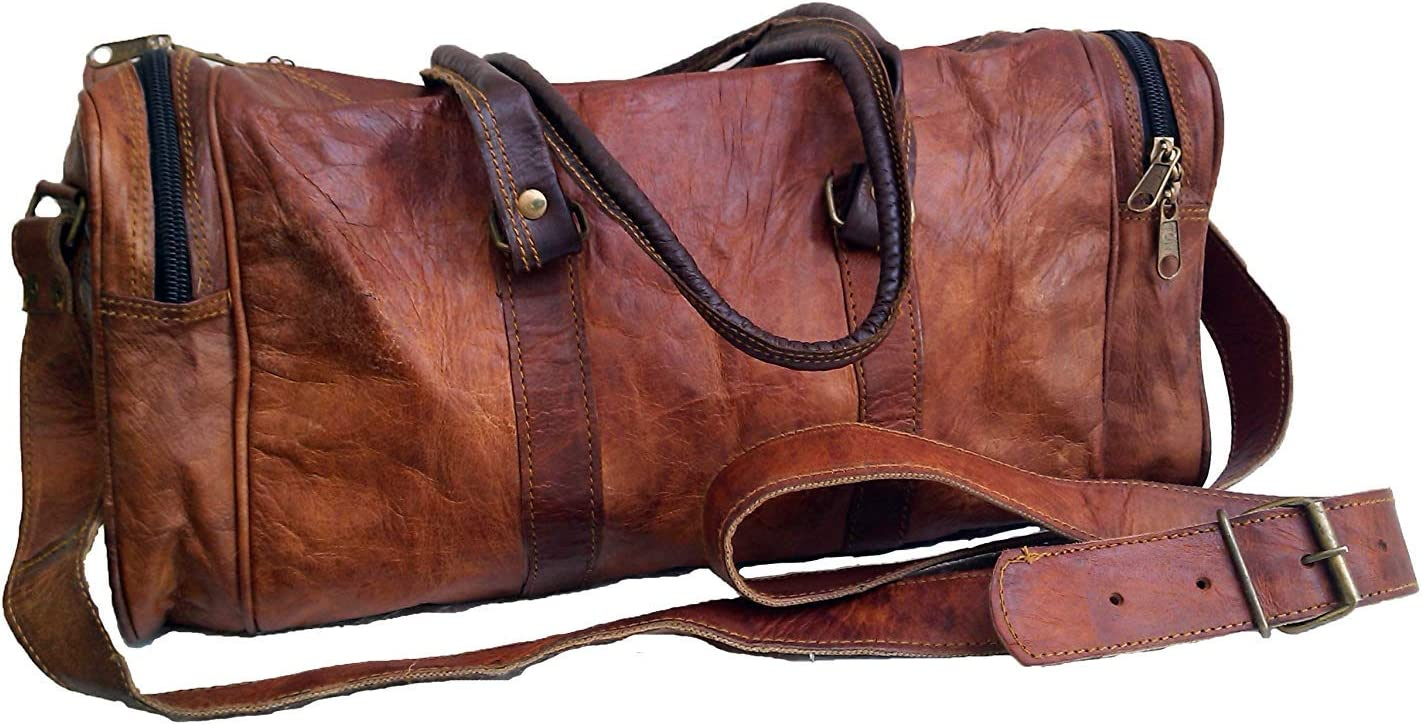 Jaald 18 Leather Duffle Bag Travel Carry-on Luggage overnight Gym weekender bag