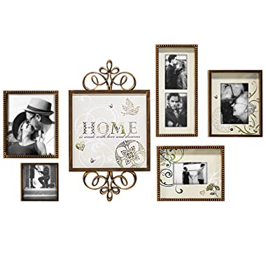 Hello Laura - Photo Frame Family Theme Classic Style Picture Frame Wall Hanging Decor Combination Set with Decor Accessories Curved Frame Luxury Royalty Gift
