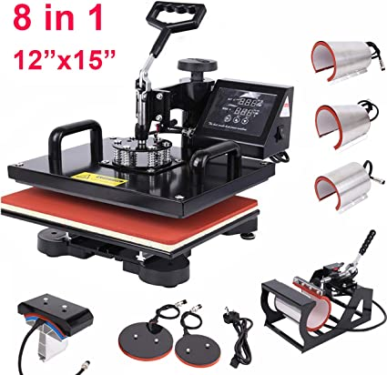 VIVOHOME 6 in 1 Swing Away Clamshell Printing Heat Press Machine for T-Shirt Hat Cap Mug Plate 15 x 15 Inch