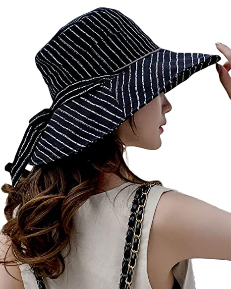 1f50ee7397f680 Women's Striped Wide Brim UPF 50 Sun Hat Packable Gardening Hat Bucket Hat  with Chin Strap Black at Amazon Women's Clothing store: