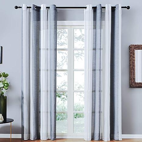 Topfinel 2er Set Transparent Grau-Weiß-Streifen Voile Gardinen mit Ösen Dekoration Vorhänge Für Kinderzimmer,140x220cm