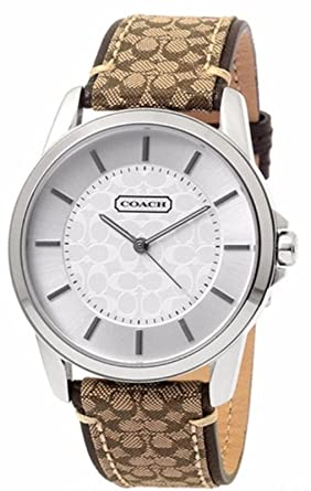 79988f47e Coach Womens 14601506 Classic Signature Fabric Leather Strap Oversized Watch