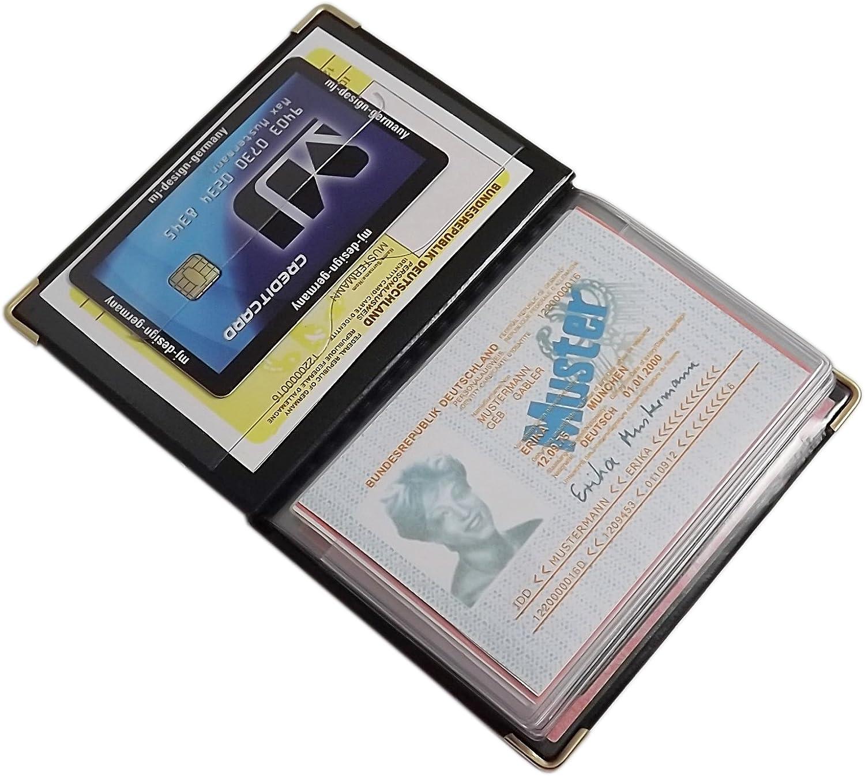 D/ésign 2 // Noir Exclusive Pochette de Carte didentit/é et Porte Carte de cr/édit 12 Compartiments MJ-Design-Germany Made in UE en diverses Couleurs et Designs