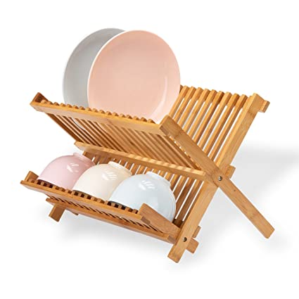 Bamboo Dish Drying Rack.Frond Bamboo Dish Rack Collapsible Premium Folding Dish Drying Racks For Holding Plates Glass Cups And Utensils 2 Tier 18 Slots