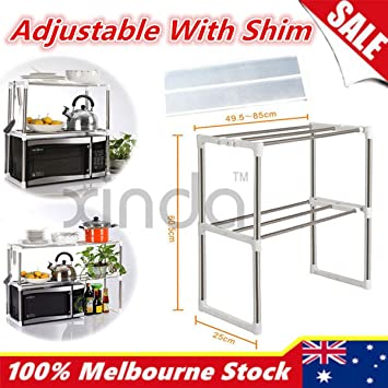 KingSo 2-Tier Storage Unit Microwave Oven Rack Shelving Unit Stainless Steel Counter Storage Shelf  sc 1 st  Amazon.com & Amazon.com: KingSo 2-Tier Storage Unit Microwave Oven Rack Shelving ...
