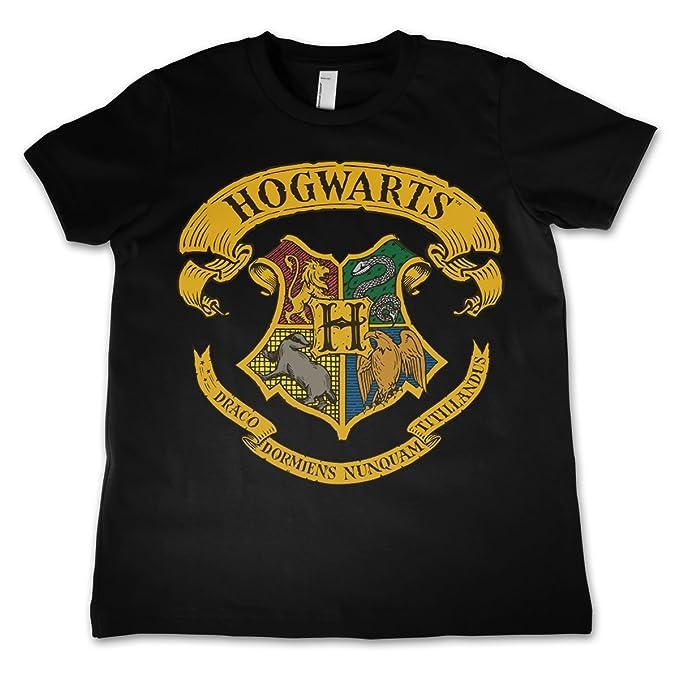 dec5c7bec HARRY POTTER Oficialmente Licenciado Hogwarts Crest Unisexo Niños Camiseta  - Negro 3 4 Años