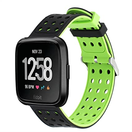 TRUMiRR para Fitbit Versa Correa de Reloj, Air Hole Banda de Goma de Silicona Correa