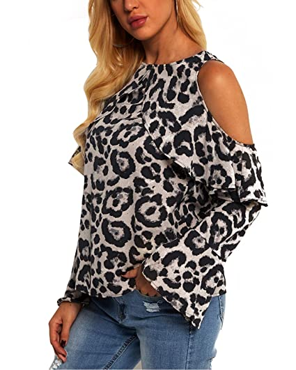 9f5d8fddf19d99 YOINS Women Blouse Leopard Cold Shoulder Long Bell Flared Sleeves Flouncy  Tops at Amazon Women s Clothing store