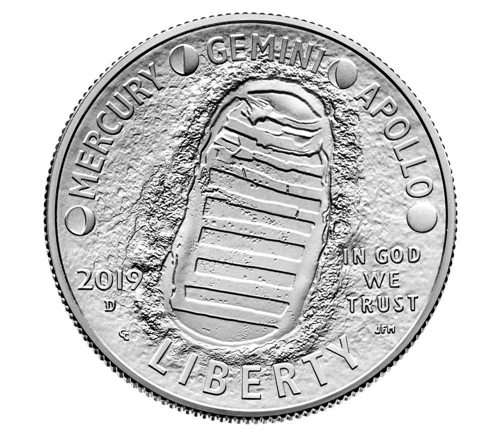 1oz Fine Silver 50th Anniv Moon Landing Domed//Curved Color N American Proof Coin
