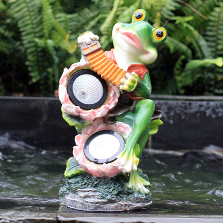 LOVEPET Outdoor Solar Light Glass Steel Sculpture Garden Frog Ornaments Garden Villa Landscape Decoration Crafts 17X13X27cm