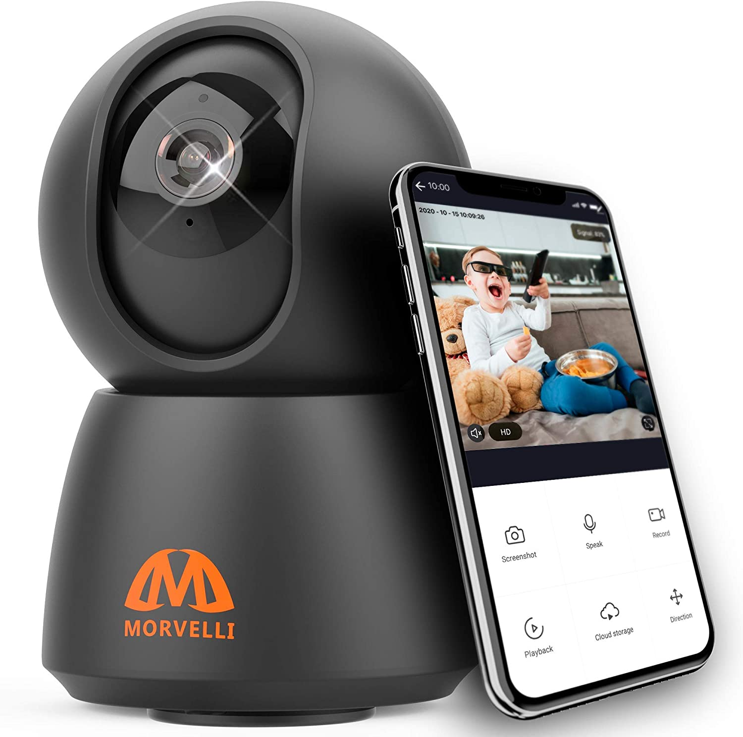 Morvelli FHD30 WiFi Smart Home Security Camera 1080P Indoor Wireless Baby Monitor with Phone App, Night Vision, 2-Way Audio for Nanny, Pet, Dog, Cat, Works with Alexa and Google iOS Android