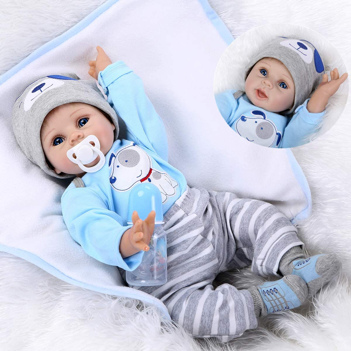 22/'/' Reborn Newborn Dolls NPKDOLL Vinyl Silicone Baby Boy Doll Xmas Toy+Clothes