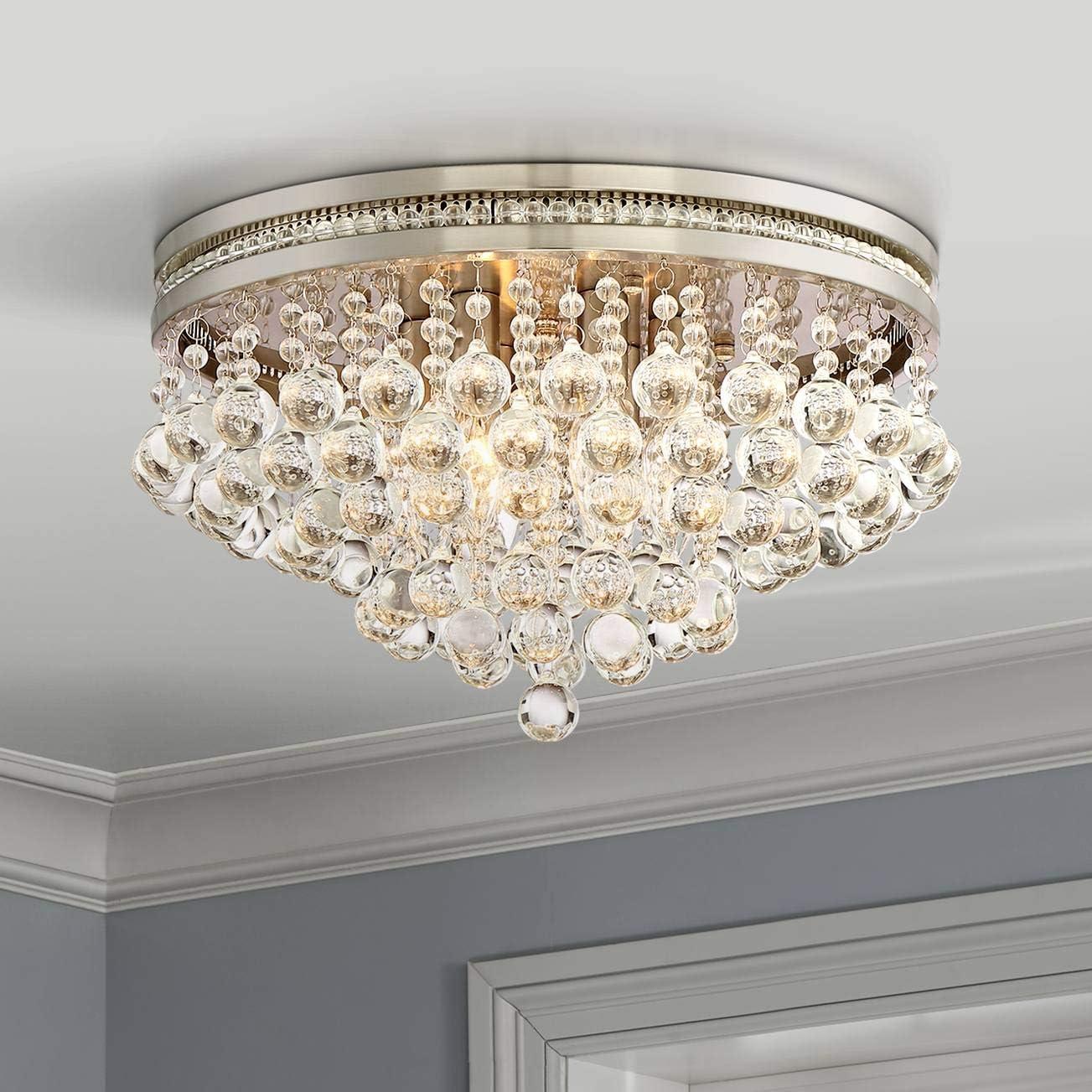 Regina Modern Ceiling Light Flush Mount Fixture Brushed Nickel 15 1 4 Wide Crystal Droplets For Bedroom Kitchen Living Room Hallway Bathroom Vienna Full Spectrum