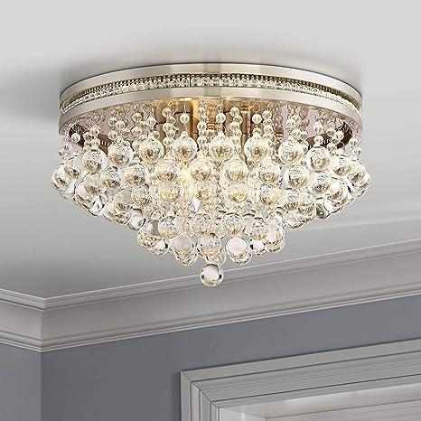 reputable site a8fb4 0b756 Regina Modern Ceiling Light Flush Mount Fixture Brushed Nickel 15 1/4