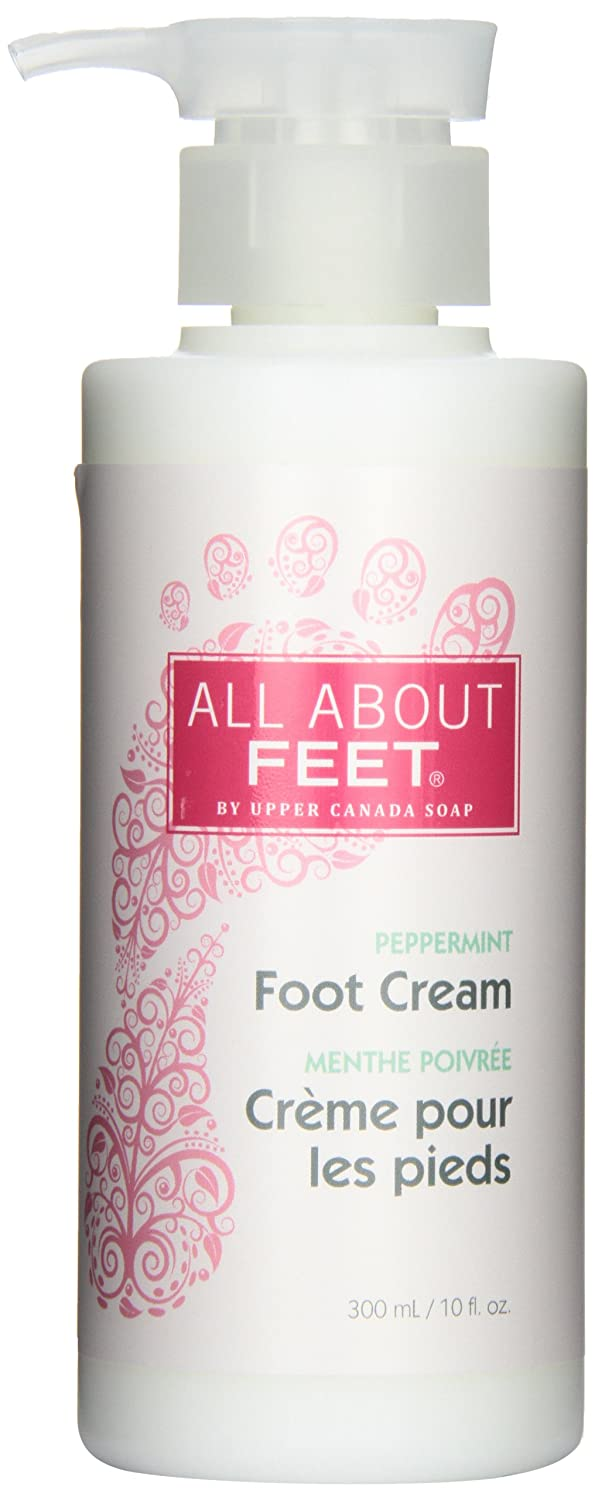 Upper Canada Soap and Candle All About Feet Peppermint Soothing Foot Cream, 10-Ounce Pump Bottle 607031