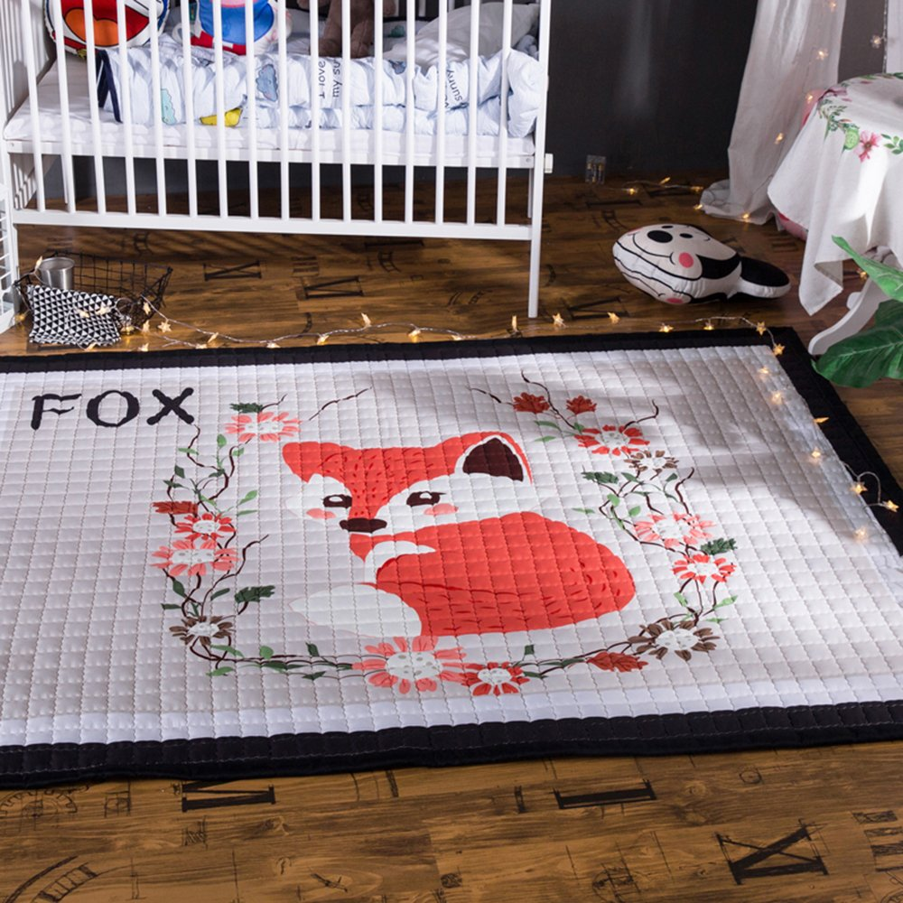 HAN-MM Thick Cotton Baby Crawling Mat Cute Play Carpet Children Bedroom Decor Living Room Rugs Red Fox2