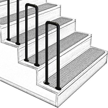 barandillas de escaleras interiores y exteriores, barandillas de escalera antideslizantes en forma de